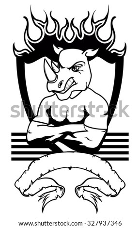 rhino mascot muscle crest shield tattoo in vector format very easy to edit - stock vector