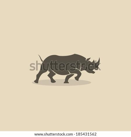 Rhino running - vector illustration - stock vector
