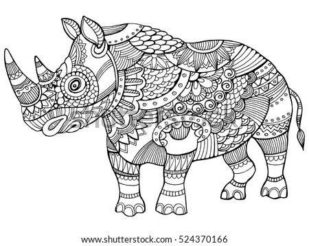 rhinoceros coloring book for adults vector illustration anti stress coloring for adult tattoo