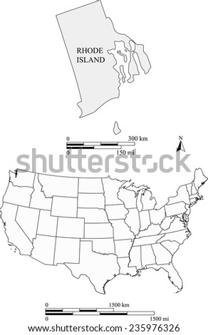 Rhode Island map with the scale - stock vector
