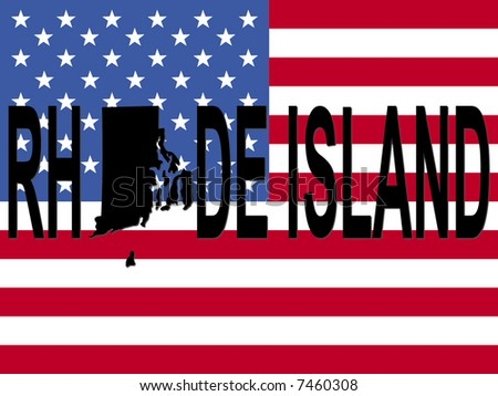 Rhode Island text with map on American flag illustration