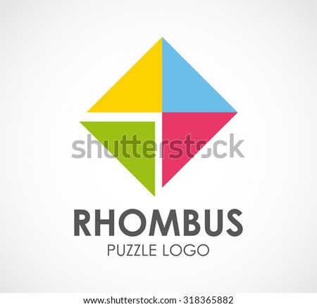 Rhombus puzzle of colorful square abstract vector logo design template business funny game for kids and icon company symbol concept - stock vector