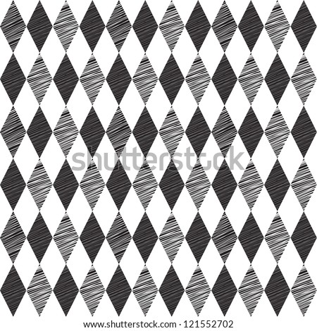 Rhombus retro background. Vector Illustration. Black and White