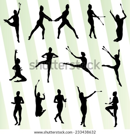 Rhythmic art gymnastics woman with clubs vector background set - stock vector