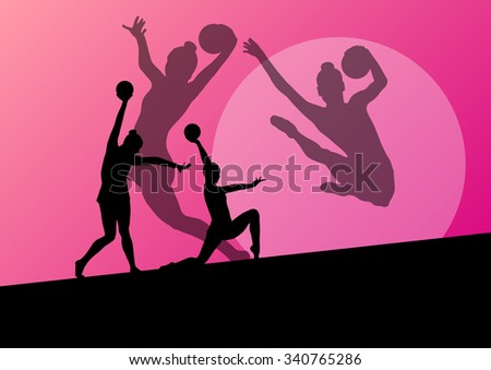 Rhythmic gymnast woman with ball vector abstract background concept - stock vector