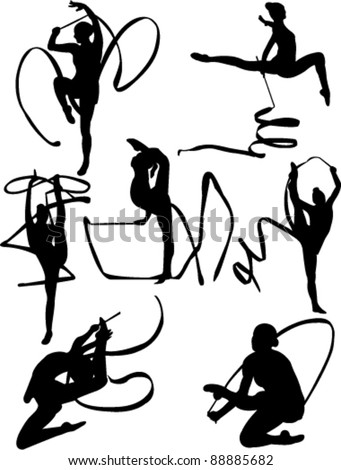 rhythmic gymnastic collection vector - stock vector