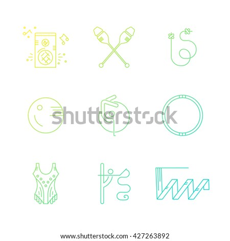 Rhythmic gymnastics equipment. Vector line symbols. Professional sport vector. Unique and modern set isolated on background.  - stock vector