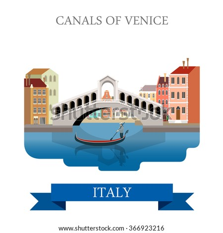 Rialto Bridge Canals of Venice in Italy. Flat cartoon style gondola historic sight showplace attraction web vector illustration template. World countries cities vacation travel sightseeing collection. - stock vector