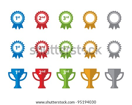 Ribbon and Trophy Icons. - stock vector