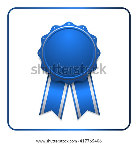 Ribbon award icon. Blue badge, isolated on white background. Medal design element. Label emblem. Blank certificate, winner or prize, decoration. Symbol first, victory success, win. Vector illustration - stock vector