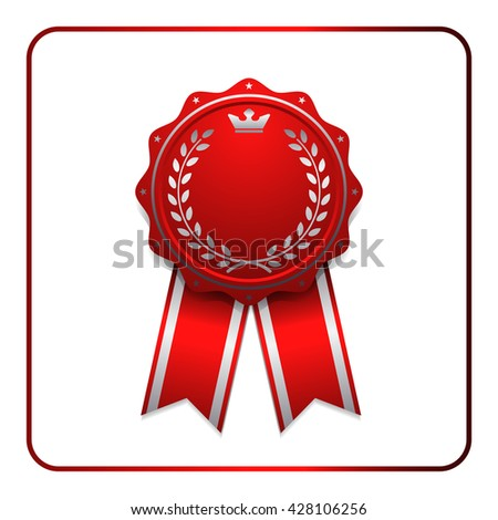 Ribbon award icon. Red badge, isolated on white background. Medal design element. Label emblem. Blank certificate, winner or prize, decoration. Symbol first, victory success, win. Vector illustration - stock vector