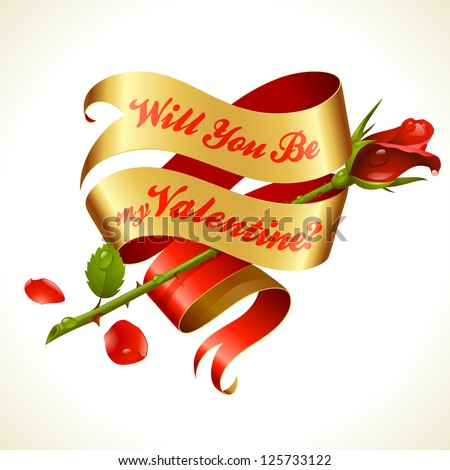 Ribbon banner in the shape of heart and red rose. Valentine's Day Card 4 - stock vector