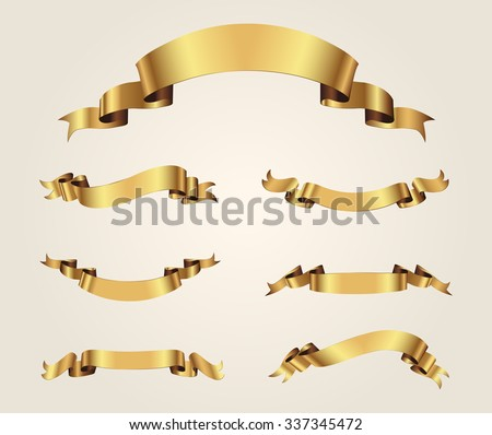 Ribbon banner set.Golden ribbons.Vector illustration. - stock vector