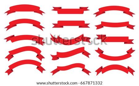 ribbon banner set vector red ribbons stock vector 2018 667871332 rh shutterstock com ribbon banner vector illustrator ribbon banner vector art free