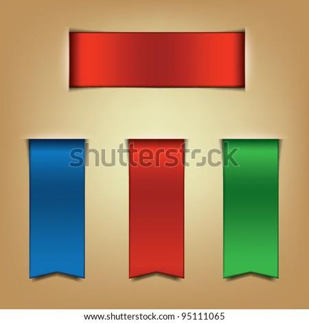 Ribbon Bookmarks - stock vector