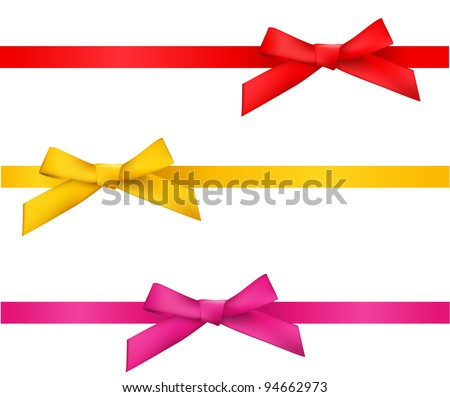 ribbon bows - red, gold, pink collection. isolated on white. - stock vector