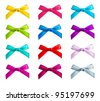 ribbon bows - red, pink, blue, gold - all colors collection - stock photo