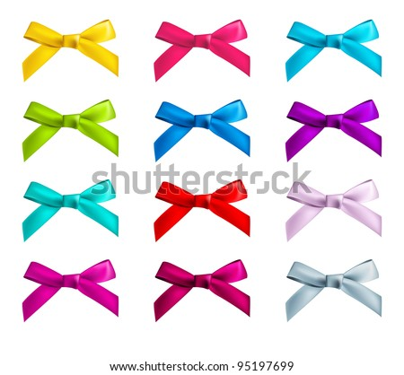 ribbon bows - red, pink, blue, gold - all colors collection - stock vector