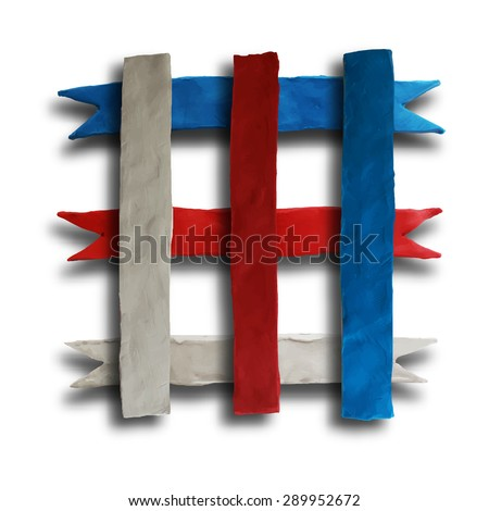 Ribbon cross, badge or batch for 4 July American Independence Day and other events, isolated on white color background. Vector illustration. Plasticine modeling. - stock vector