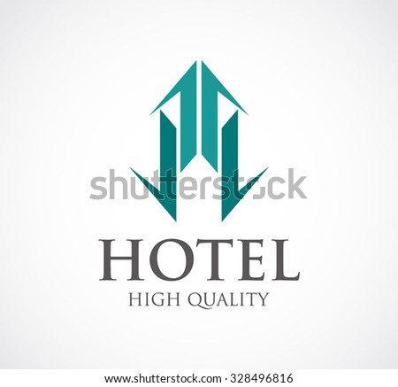Ribbon for hotel or apartment property abstract vector and logo design or template building business icon of real estate company symbol concept - stock vector