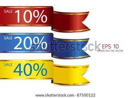 ribbon full color sale tag - stock vector