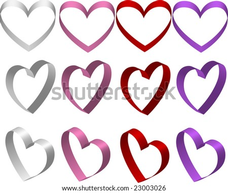 Ribbon hearts vector - stock vector