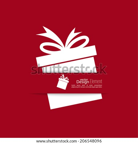 Ribbon in the form of gift  with shadow and space for text. flat design.banners, graphic or website layout  template. red - stock vector