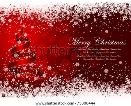 Ribbon in the form of the Christmas tree with stars and snowflakes on red background, illustration - stock vector
