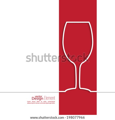 Ribbon in the form of wine glass  with shadow and space for text. flat design. - stock vector