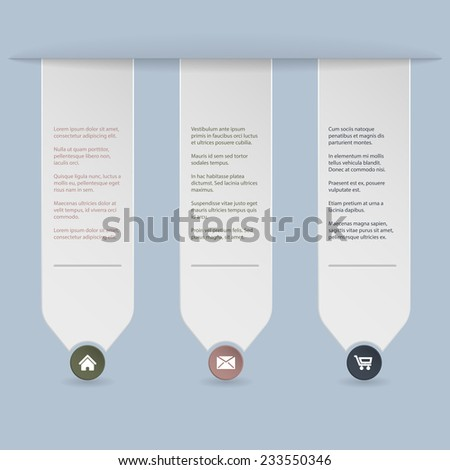 Ribbon infographic background design with blue background - stock vector