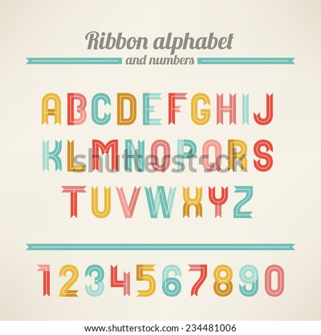 Ribbon Latin alphabet and numbers. A, B, C, D, E, F, G, H, I, J, K, L, M, N, O, P, Q, R, S, T, U, V, W, X, Y, Z. Perfect for holiday greetings, Christmas, Valentine, birthday and wedding cards.  - stock vector