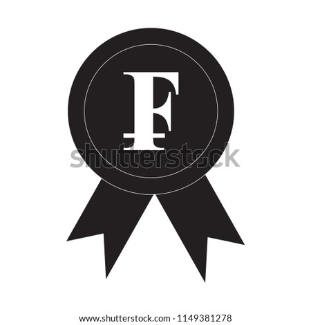 Ribbon Swiss Franc Icon Award Cryptocurrency Stock Vector Royalty
