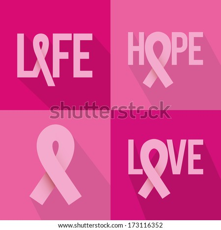 ribbon pink over pink background vector illustration - stock vector