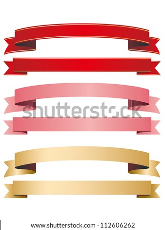ribbon red pink gold - stock vector