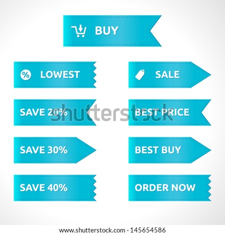 Ribbon sale color blue   vector template   white icons   label element with symbol   sale lowest buy best price order now save best buy  - stock vector