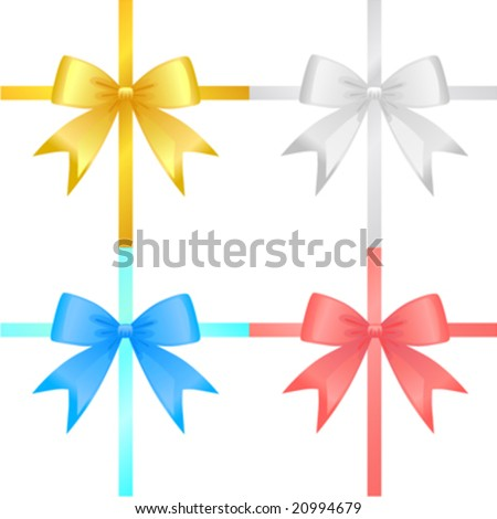 ribbon set vector (four color)
