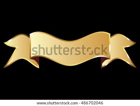 Ribbon vector icon gold color on black background. Banner isolated shapes illustration of gift and accessory. Christmas sticker and decoration for app and web. Label, badge and borders collection.