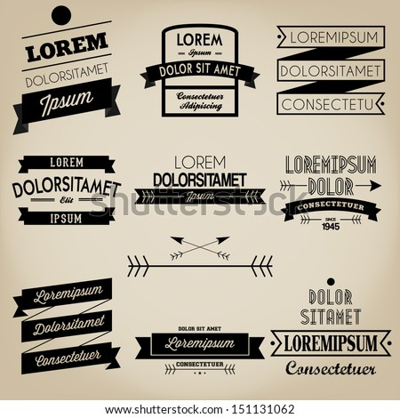 Ribbon Vintage Label Design - stock vector