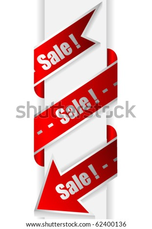 Ribbon with arrow and text sale ! - stock vector