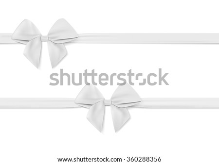 Ribbon with white bow vector. Tape. Isolated on white - stock vector
