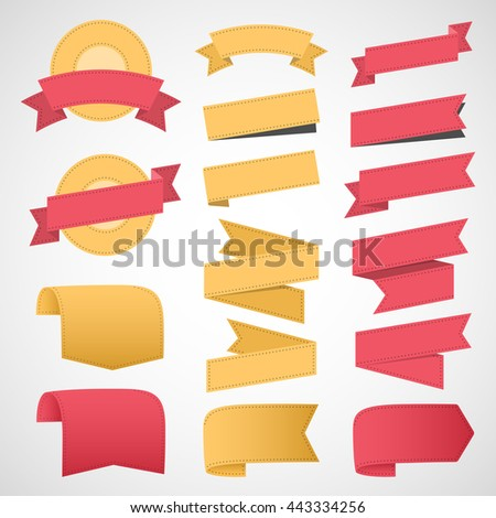 Ribbons and labels. Vector illustration - stock vector