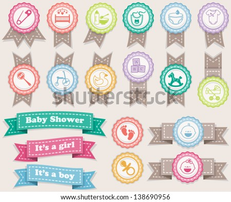 Ribbons and stamps about babies. Pastel colors - stock vector