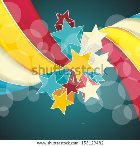Ribbons and stars isolated on white background. Grunge carnival A retro circus background for a poster - stock vector