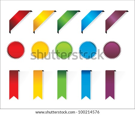 Ribbons and stickers set. - stock vector