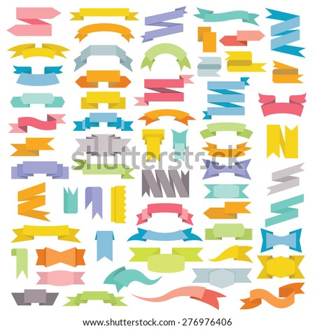 ribbons, big set of design elements banners ribbons, labels - stock vector