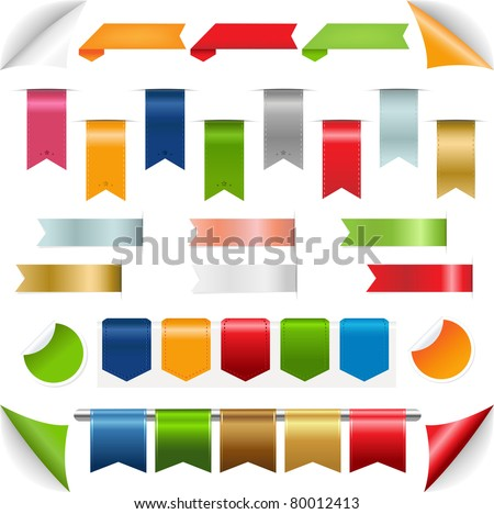 Ribbons collection, Isolated On White Background, Vector Illustration - stock vector