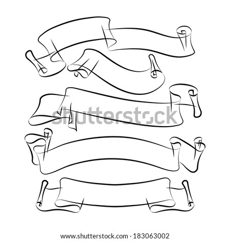 ribbons. freehand drawing. vector illustration eps 10 - stock vector