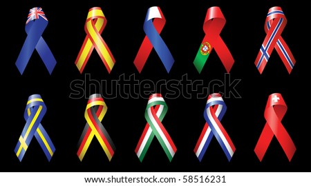 Ribbons of Europe 1 - stock vector