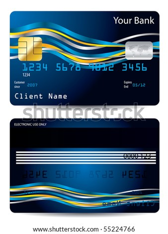 Ribbons on blue credit card - stock vector