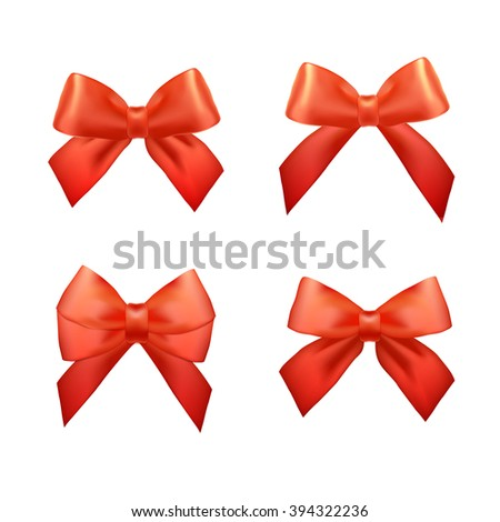 Ribbons set for Christmas gifts. Red gift bows with ribbons. Vector Red gift ribbons and bows for New Year celebrate. Christmas ribbons, christmas gifts. Birthday ribbons, birthday gift - stock vector